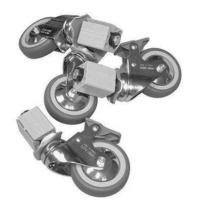 XXLselect Wielenset 4 Wielen - voor alle RVS Werktafels, Kasten, Spoeltafels - INCLUSIEF MONTAGE - ø100mm