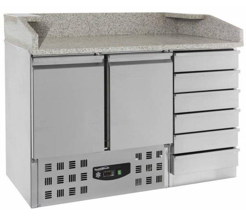 Combisteel Pizza Workbench - SS - zwei Türen und Schubladen 6 - 142x70x (h) 106cm