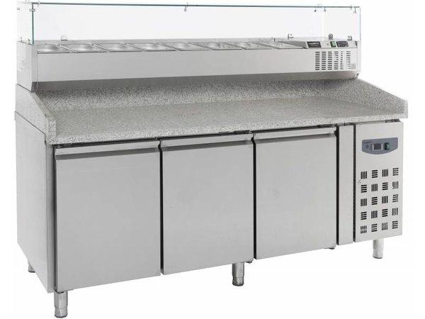 Combisteel Pizza Workbench - Stainless Steel - 3 door - 202x80x (h) 100cm
