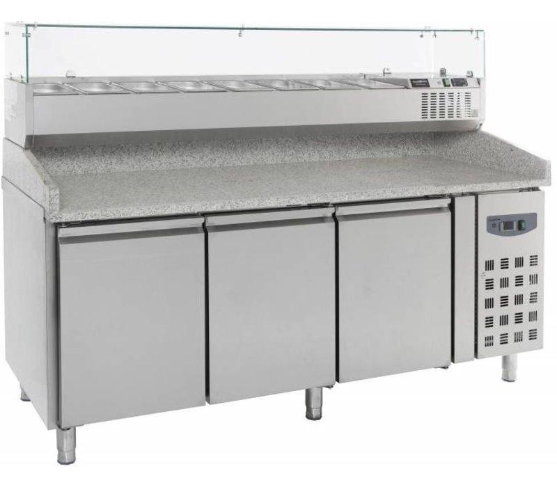 Combisteel Pizza Workbench - Edelstahl - 3 Tür - 202x80x (h) 100cm