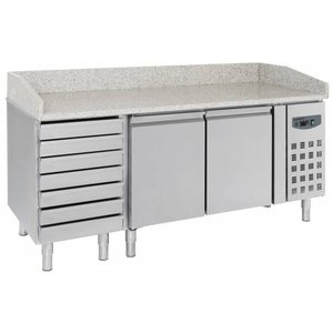 Combisteel Pizza Workbench - SS - 2 doors and 7 drawers - 203x80x (h) 100cm