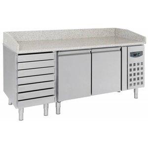 Combisteel Pizza Workbench - SS - 2 Türen und 7 Schubladen - 203x80x (h) 100cm
