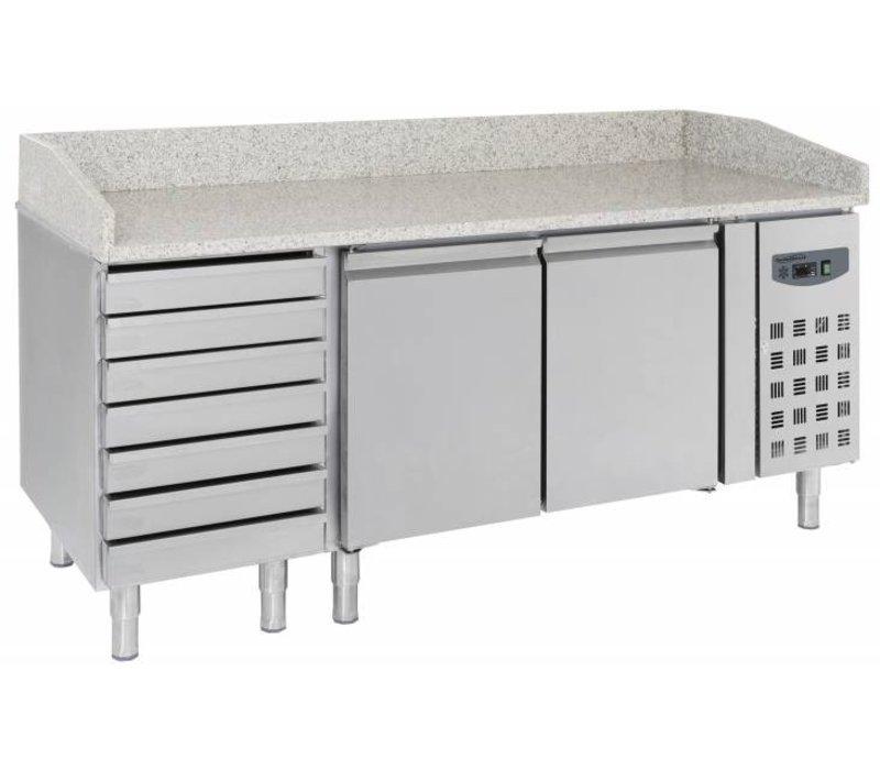 Combisteel Pizzawerkbank - RVS - 2 deurs en 7 lades - 203x80x(h)100cm