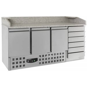 Combisteel Pizza Workbench - Stainless Steel - Door 3 and 6 Drawers - 180x70x (h) 106cm