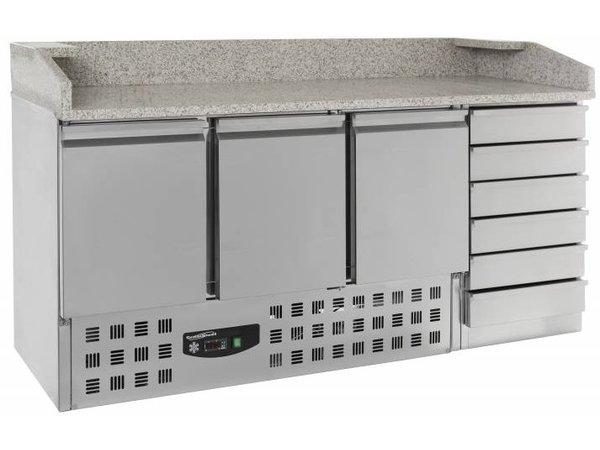 Combisteel Pizza Workbench - Edelstahl - Tür 3 und 6 Schubladen - 180x70x (h) 106cm