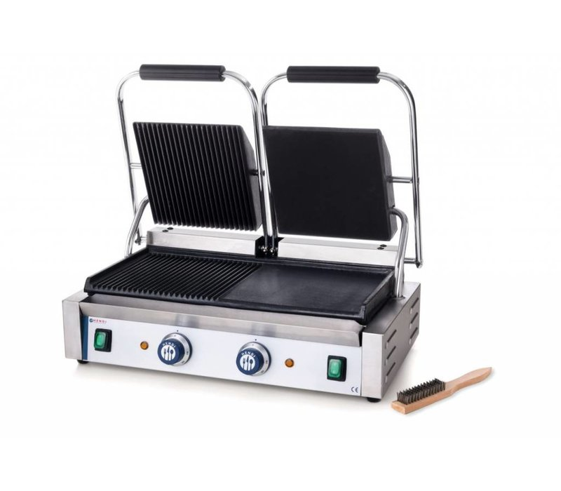 Hendi Contact Grill double - left smooth, ribbed right - 57x37x (H) 21 - 3600W