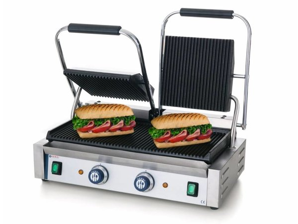 Hendi Contact Grill double - upper & lower ribbed - 57x37x (H) 21 - 3600W