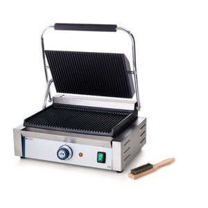 Hendi Contact Grill Panini | Corded / ribbed | 430x370x (H) 210mm | 2200W