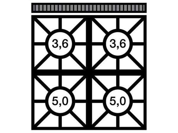 Modular Fornuis 650 Modular - Gas - 4 Pits - 70x65x(h)28cm - 17,2 kW