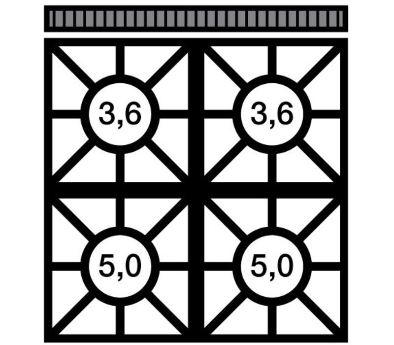 Modular Fornuis 650 Modular - Gas - 4 Pits Met Gasoven - 70x65x(h)85cm - 22,2 kW