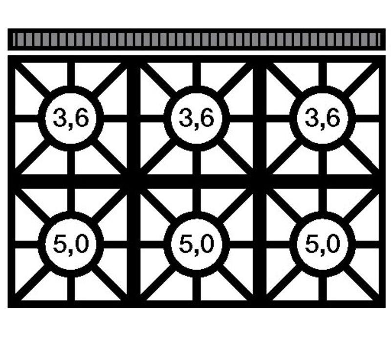 Modular Fornuis 650 Modular - Gas - 6 Pits Met Elektrische Heteluchtoven - 110x65x(h)85cm - 25.8 kW