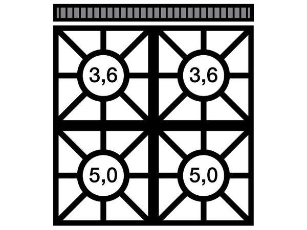 Modular Fornuis 650 Modular - Propaan - 4 Pits Met Open Onderstel - 70x65x(h)85cm - 17,2 kW