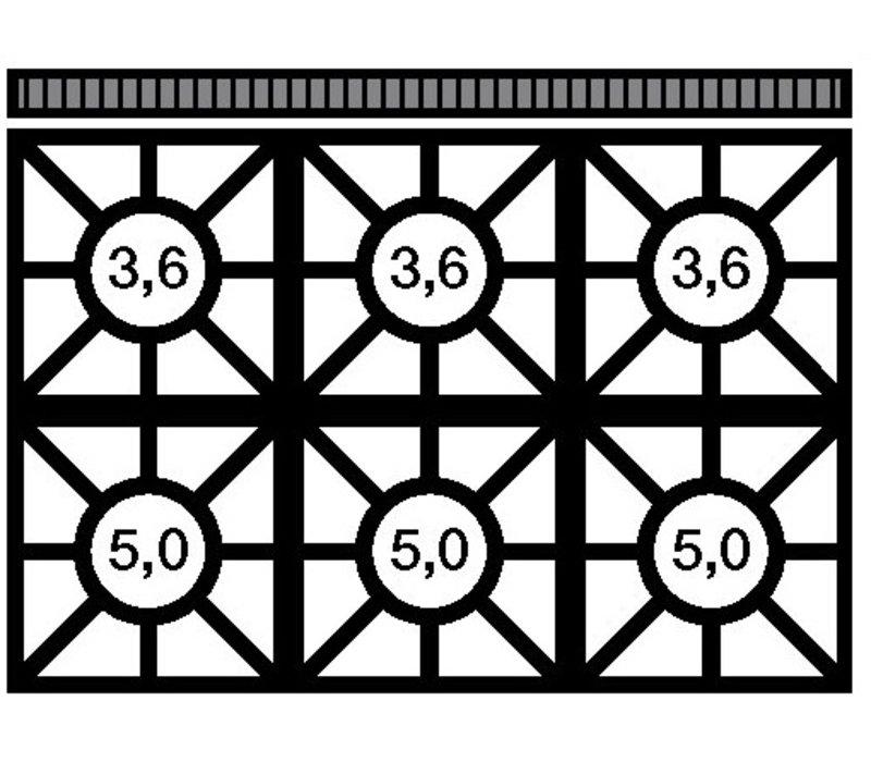 Modular Fornuis 650 Modular - Gas - 6 Pits Met Open Onderstel - 110x65x(h)85cm - 25,8 kW