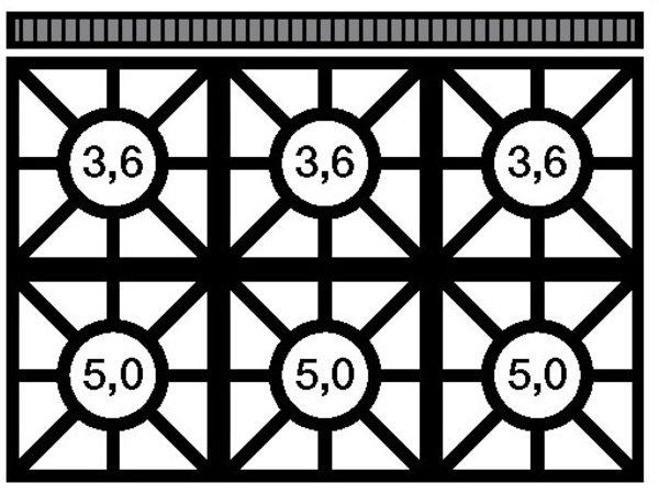 Modular Stove 650 Modular - Propane - six Pits - With Open Frame - 110x65x (h) 85cm - 25.8 kW
