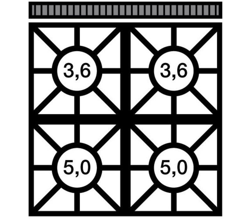 Modular Fornuis 650 Modular - Gas - 4 Pits - Met Onderstel - 70x65x(h)85cm - 17,2 kW