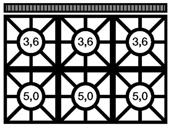 Modular Fornuis 650 Modular - Gas - 6 Pits Met Onderstel - 110x65x(h)85cm - 25,8 kW