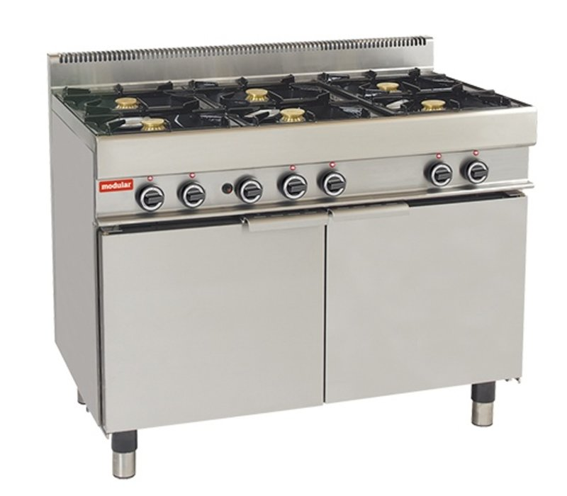 Modular Fornuis 650 Modular - Gas - 6 Pits Met Extra Grote Gasoven - 110x65x(h)85cm - 33,3 kW