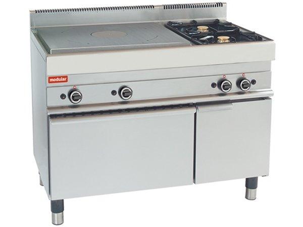 Modular Platten Herd - 650 Modular - Gas - mit zwei zusätzlichen Brennern und Ofen - 110x65x (h) 85 cm - 21,8 kW