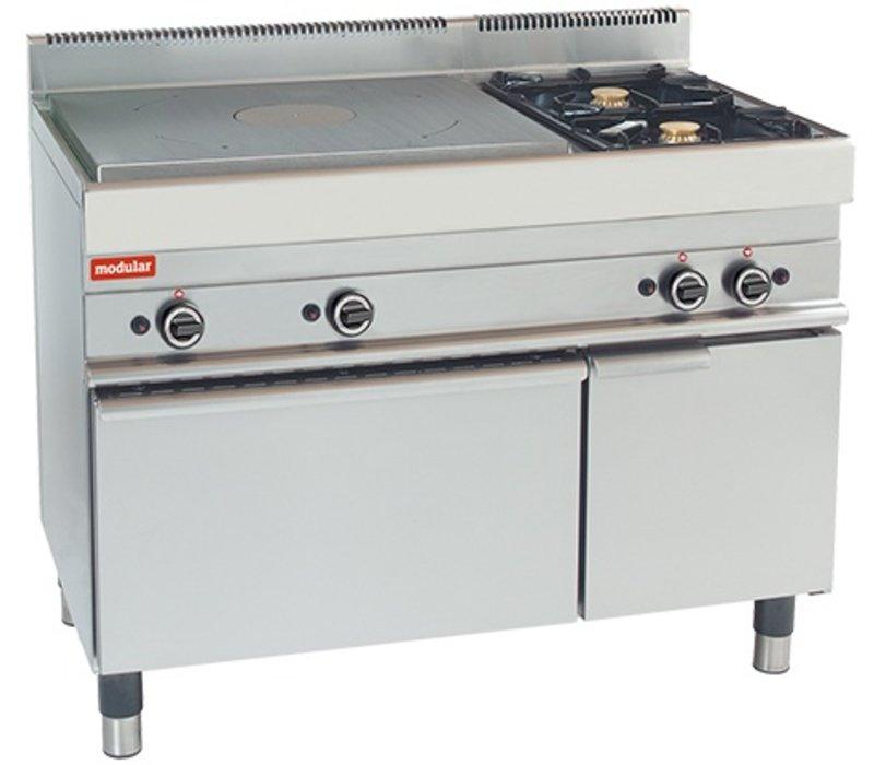Modular Platenfornuis - 650 Modular - Gas - Met Twee Extra Branders en Oven - 110x65x(h)85cm - 21,8 kW