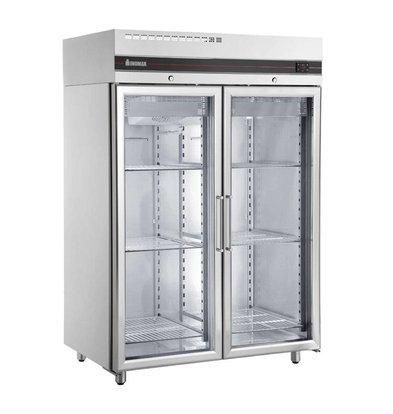 XXLselect Freezer Showcase SS - Double Glass Doors - 1432 liters - 1407 W - 144x82x (h) 212cm