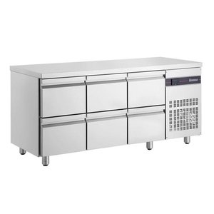 XXLselect Cool Workbench - Stainless Steel - 6 Drawers - 421 Liter - 351W - 179x70x (h) 87cm