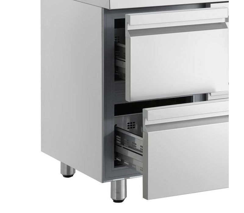 XXLselect Cool Workbench - Stainless Steel - 6 Drawers - 421 Liter - 351W - 179x70x (h) 87cm