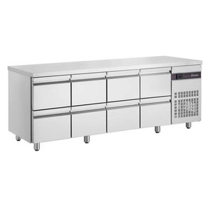 XXLselect Cool Workbench - RVS - 8 drawers - 571 Liter - 351W - 224x70x (h) 87cm