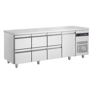 XXLselect Cool Workbench - RVS - 1 Door - 6 Drawers - 571 Liter - 440W - 224x70x (h) 87cm