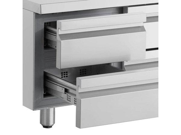 XXLselect Cool Workbench - RVS - 1 Door - 6 Drawers - 571 Liter - 440W - 224x70x (h) 87cm
