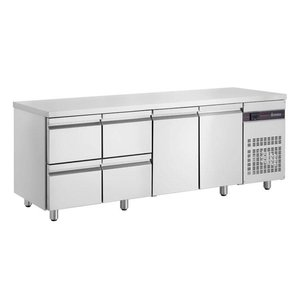 XXLselect Cool Workbench - Stainless Steel - 2 Doors - 4 Drawers - 571 Liter - 440W - 224x70x (h) 87cm