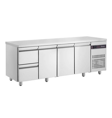 XXLselect Cool Workbench - RVS - 3 Doors - 2 Drawers - 571 Liter - 440W - 224x70x (h) 87cm