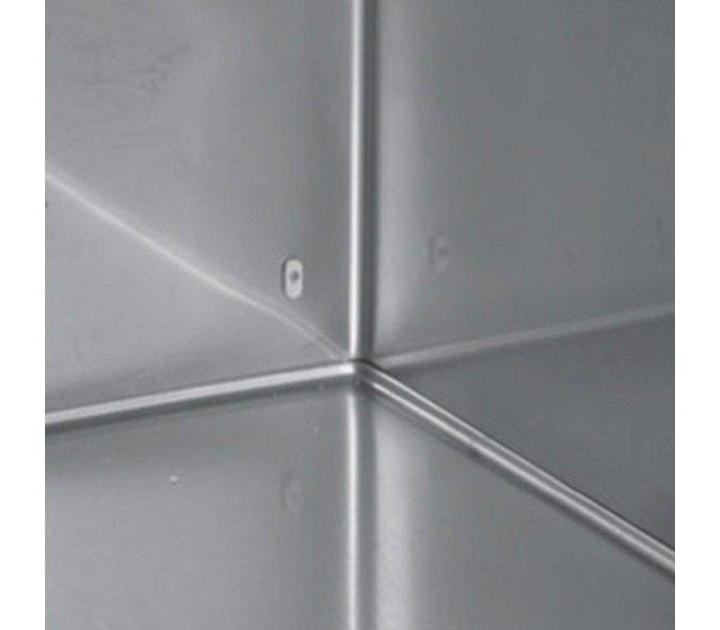 XXLselect Low Coole Workbench - RVS - 1 Tür - 4 breite Schubkästen - 245 Liter - 351W - 179x70x (h) 62cm