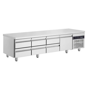 XXLselect Low Cool Workbench - RVS - 1 Door - 6 wide drawers - 332 Liter - 440W - 224x70x (h) 62cm