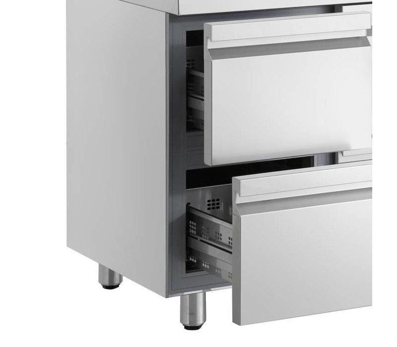 XXLselect Lage Koelwerkbank - RVS - 1 Deur - 6 Brede Lades - 332 Liter - 440W - 224x70x(h)62cm