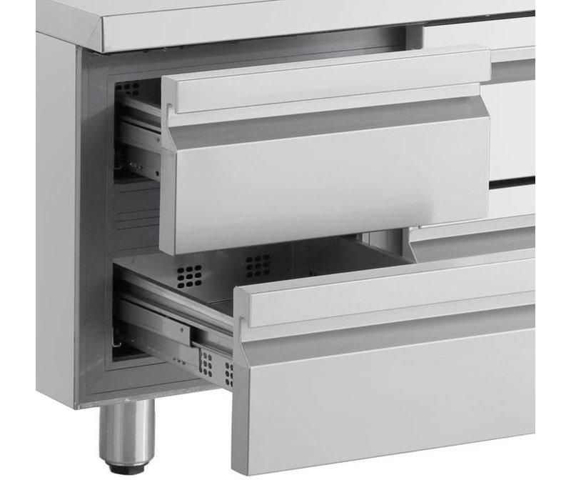 XXLselect Low Coole Workbench - RVS - 1 Tür - 6 breite Schubkästen - 332 Liter - 440W - 224x70x (h) 62cm