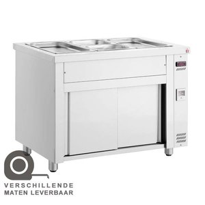 XXLselect Bain Marie - Stainless Steel - with Neutral Base cabinet - 2000W - 3 bins - 1/1 GN - 110x70x (h) 86cm