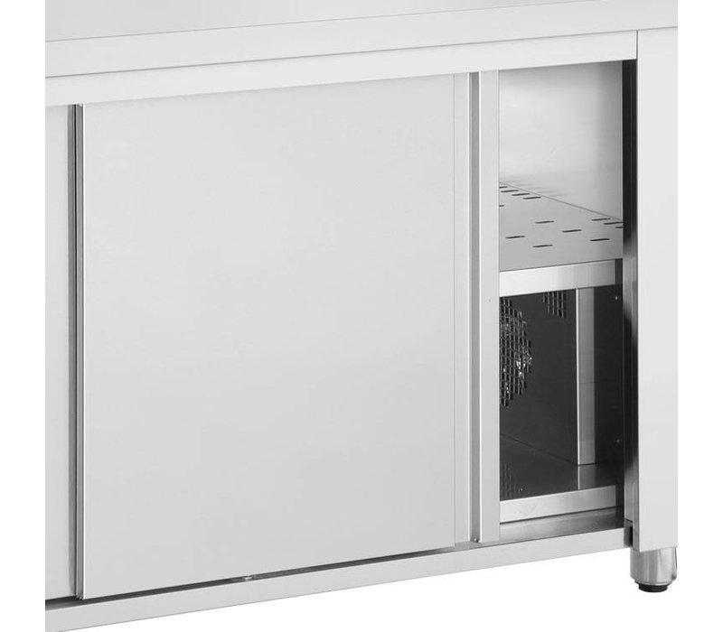 XXLselect Bain Marie - RVS - met Neutrale Onderkast - 2640W - Glasopbouw - 4 Bakken - 1/1 GN - 139x70x(h)129cm