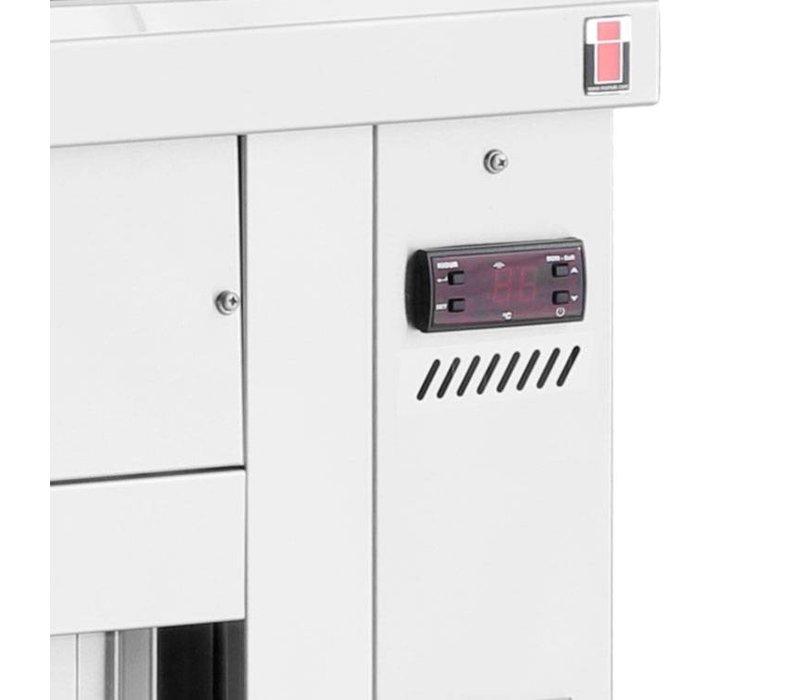 XXLselect Bain Marie - RVS - met Neutrale Onderkast - 3400W - Glasopbouw - 5 Bakken - 1/1 GN - 179x70x(h)129cm