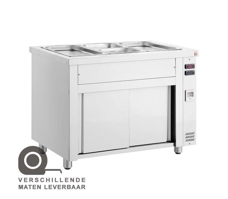 XXLselect Bain Marie - Stainless Steel - Heated base cabinet - 3850W - 3 bins - 1 / 1GN - 110x70x (h) 86cm