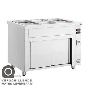 XXLselect Bain Marie - Edelstahl - Sitzunterschrank - 4450W - fünf Behälter - 1 / 1GN - 179x70x (h) 86cm