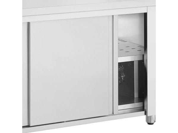 XXLselect Bain Marie - RVS - Verwarmde Onderkast - 4490W - Glasopbouw - 4 Bakken - 1/1GN - 139x70x(h)129cm