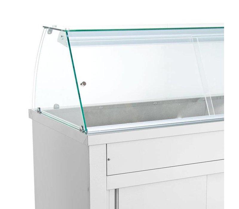 XXLselect Bain Marie - Edelstahl - Sitzunterschrank - 5250W - Glasbau - fünf Behälter - 1 / 1GN - 179x70x (h) 129cm