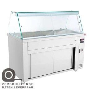 XXLselect Bain Marie - RVS - Verwarmde Onderkast - 5250W - Glasopbouw - 5 Bakken - 1/1GN - 179x70x(h)129cm