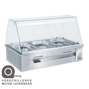 XXLselect Bain Marie - RVS - Opzet - 2480W - Glasopbouw - 3x 1/1GN - 107x63x(h)27cm