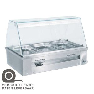 XXLselect Bain Marie - RVS - intentionally - 2640W - Glass Construction - 4x 1 / 1GN - 140x63x (h) 27cm