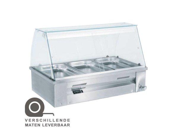XXLselect Bain Marie - RVS - absichtlich - 2640W - Glasbau - 4x 1 / 1GN - 140x63x (h) 27 cm