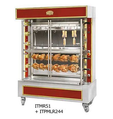 Sofinor Chicken Grill 2/4/6 Shampurs + 1 vertical - Gas - 1465x745x (h) 1020mm - 12/24/36 chickens