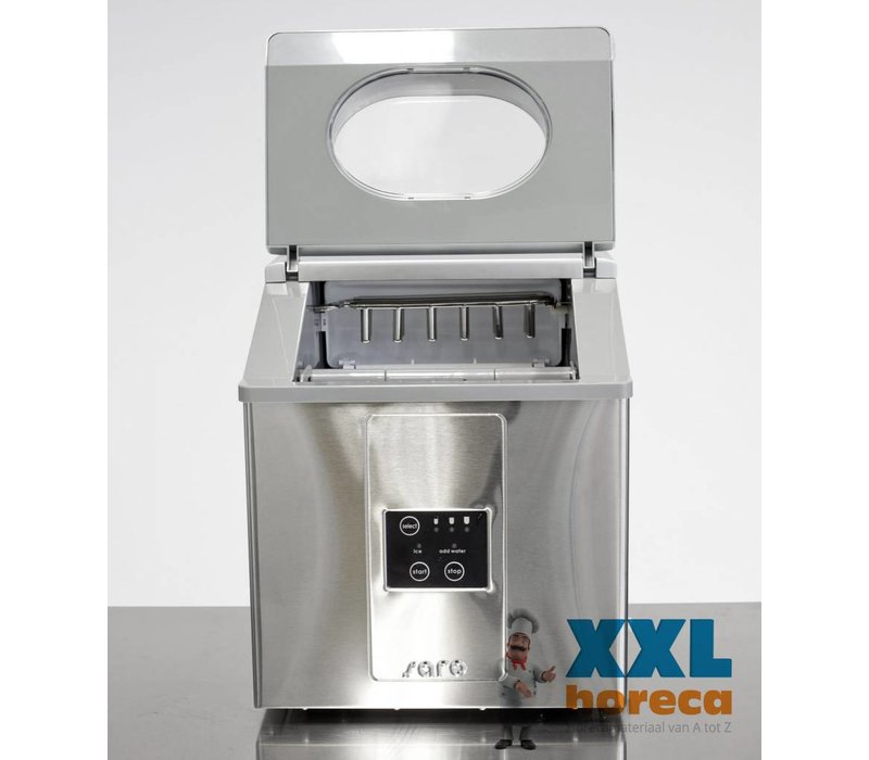 Saro Ice machine - Stainless steel housing - three adjustable sizes - 15 kg / 24h - 2 years warranty