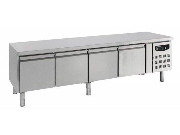 Combisteel Laagmodel Koelwerkbank - RVS - 4 deurs - 223x70x(h)65cm