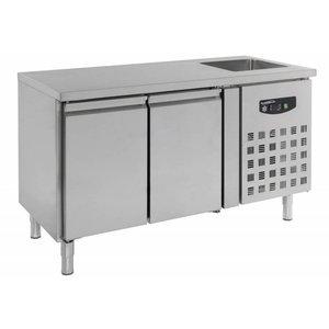 Combisteel Cool Workbench - 2 door - sink - 151x70x (h) 96cm